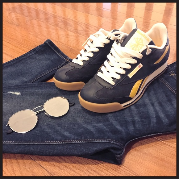 20872b223 Reebok Shoes   Classic Navy Blue Yellow Sneakers Sz 65   Poshmark